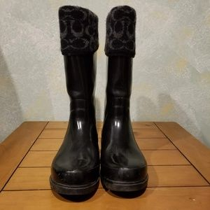 Womens Coach Black Rubber Rain Boots sz 10